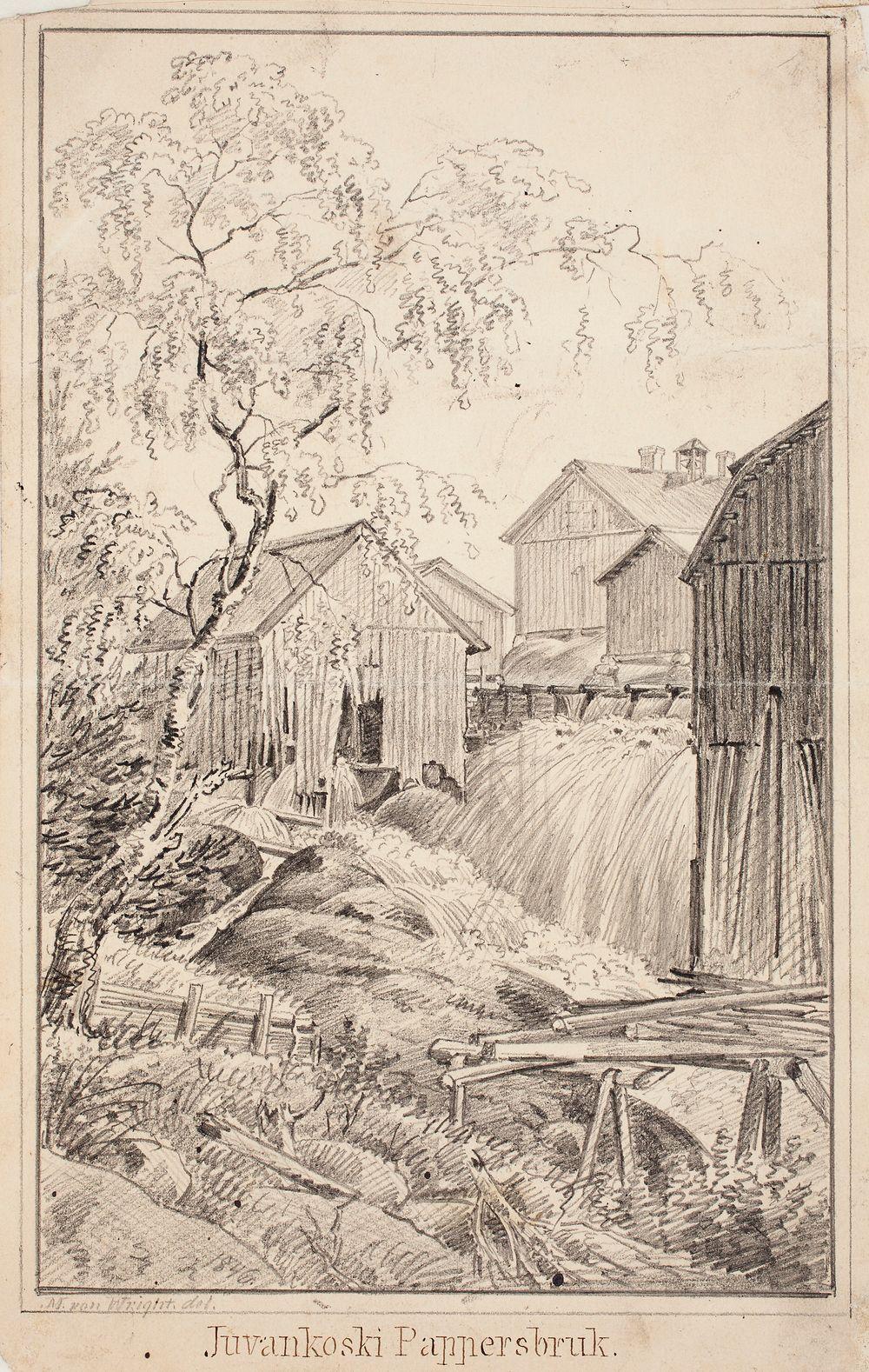 Juvankosken paperitehdas, originaalipiirustus teokseen Finland framställdt i teckningar