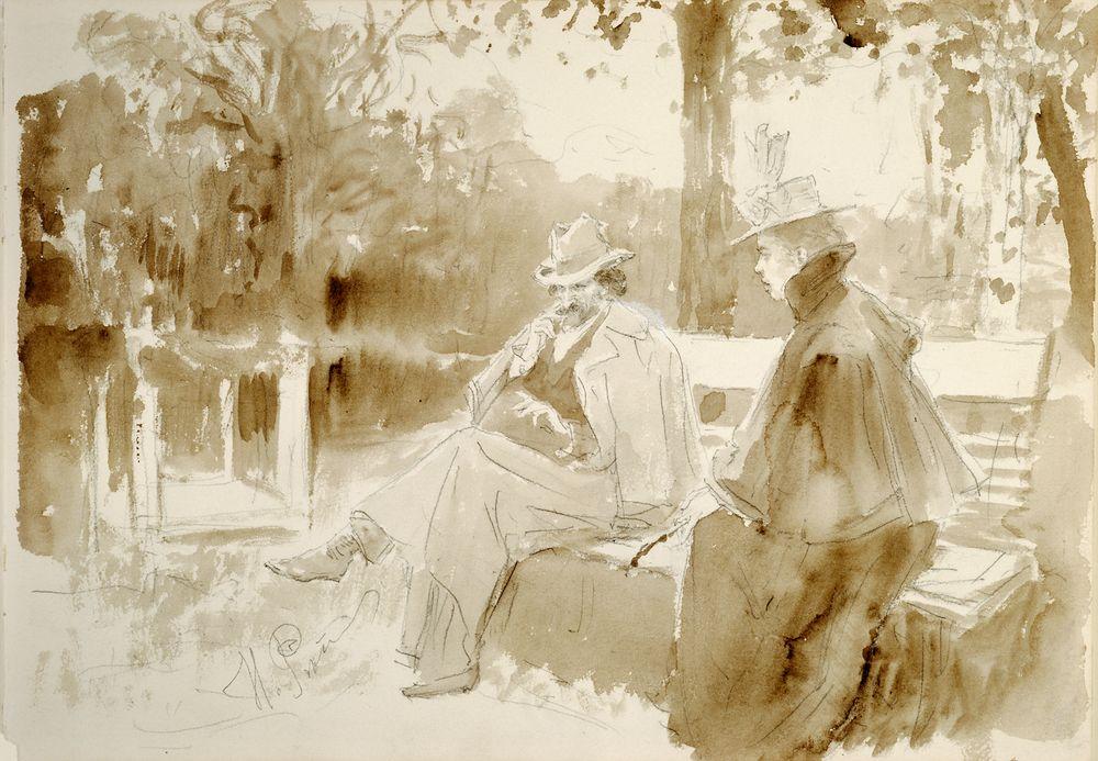 Ksenian ja Nedrovin tapaaminen puistossa Nevan saarilla