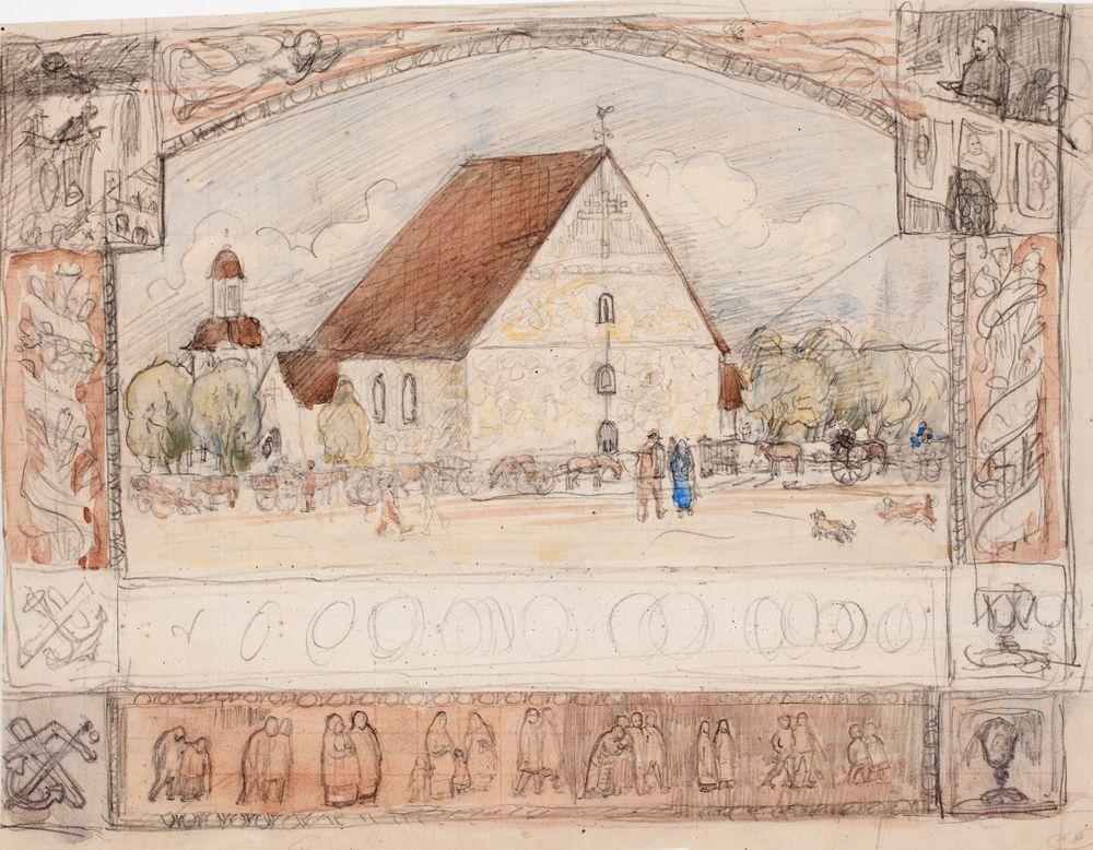 Kivikirkko, kuvitusta kirjaan Suomalainen kuvakirja lapsille ja nuorisolle 1894