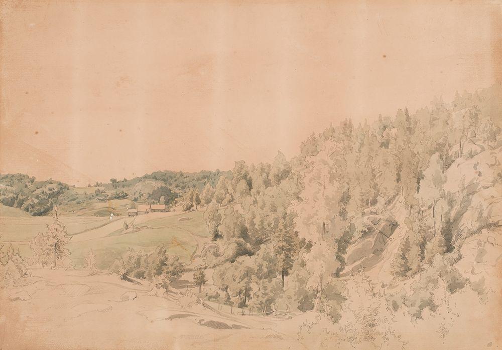 Metsäinen vuori, niittyjä ja maalaistalo