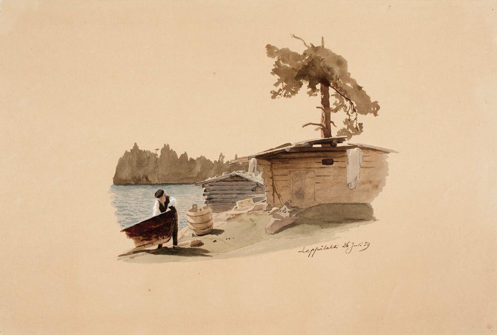 Rantamaisema, jossa venettä maihin vetävä mies