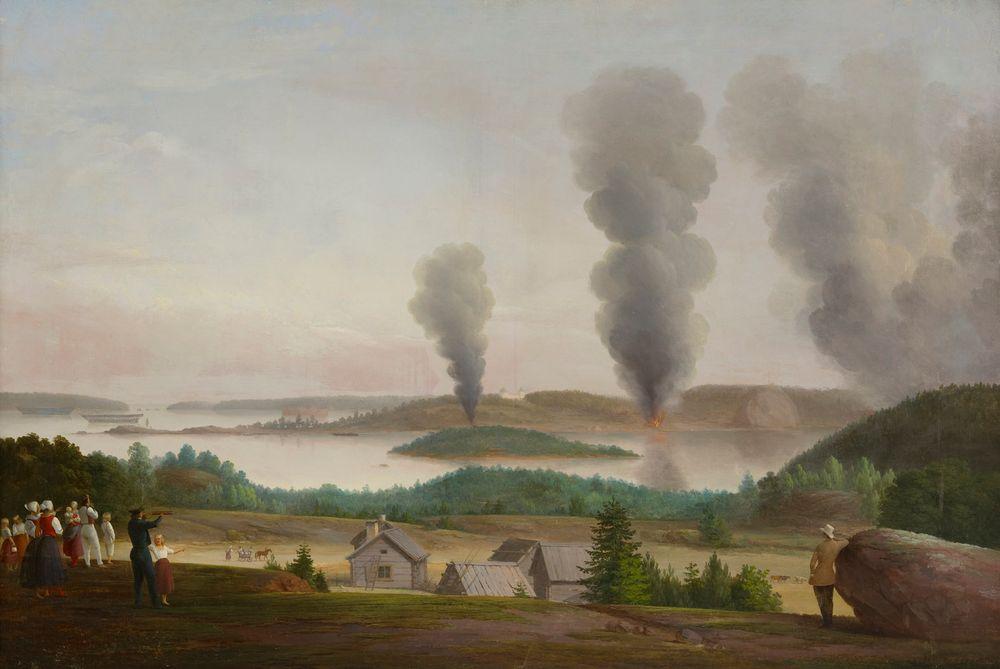 """Ruotsinsalmi poltetaan, kohtaus """"Oolannin sodasta"""" 1855"""