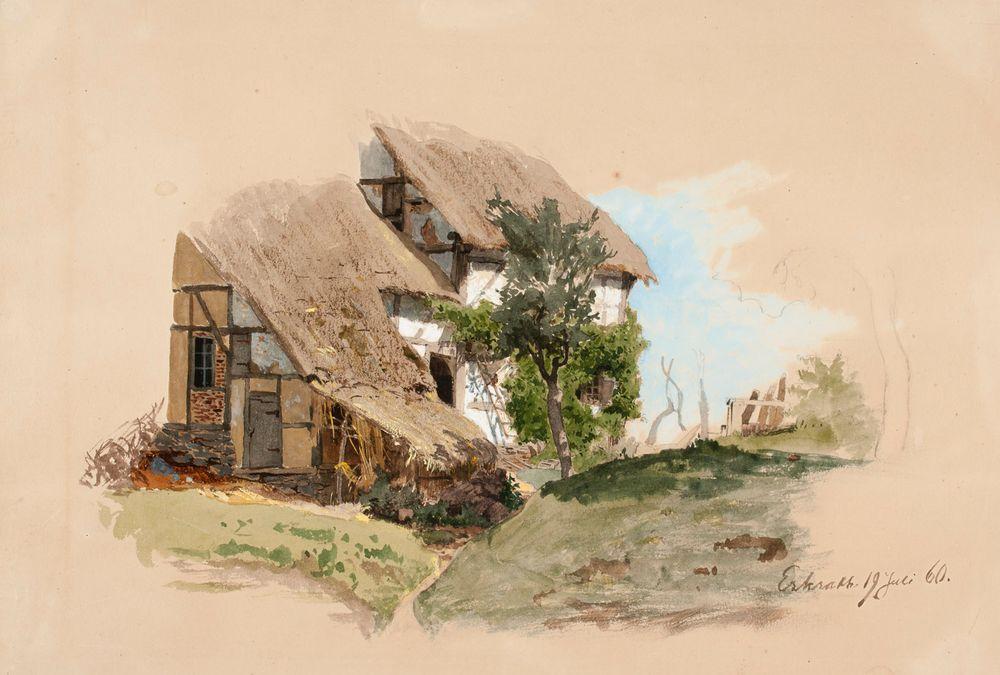 Reininmaalainen talonpoikaistalo, keskellä talon edessä lehtipuu