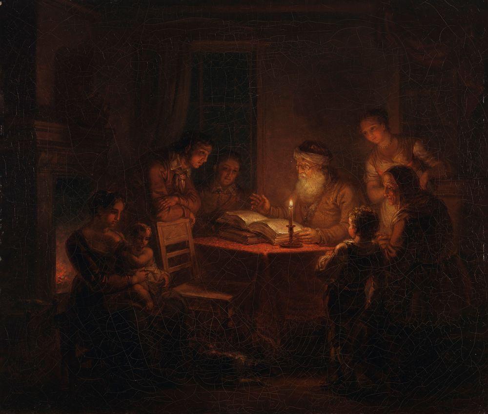 Jewish Rabbi Reading the Bible to His Family