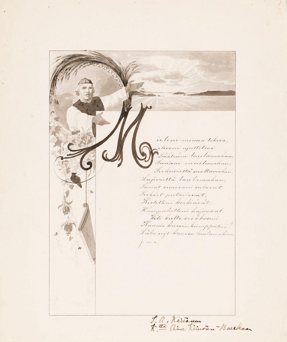 Kalevalakuvitusta: 1.sivu, Mieleni minun tekevi, Aivoni ajattelevi..., vinjetti