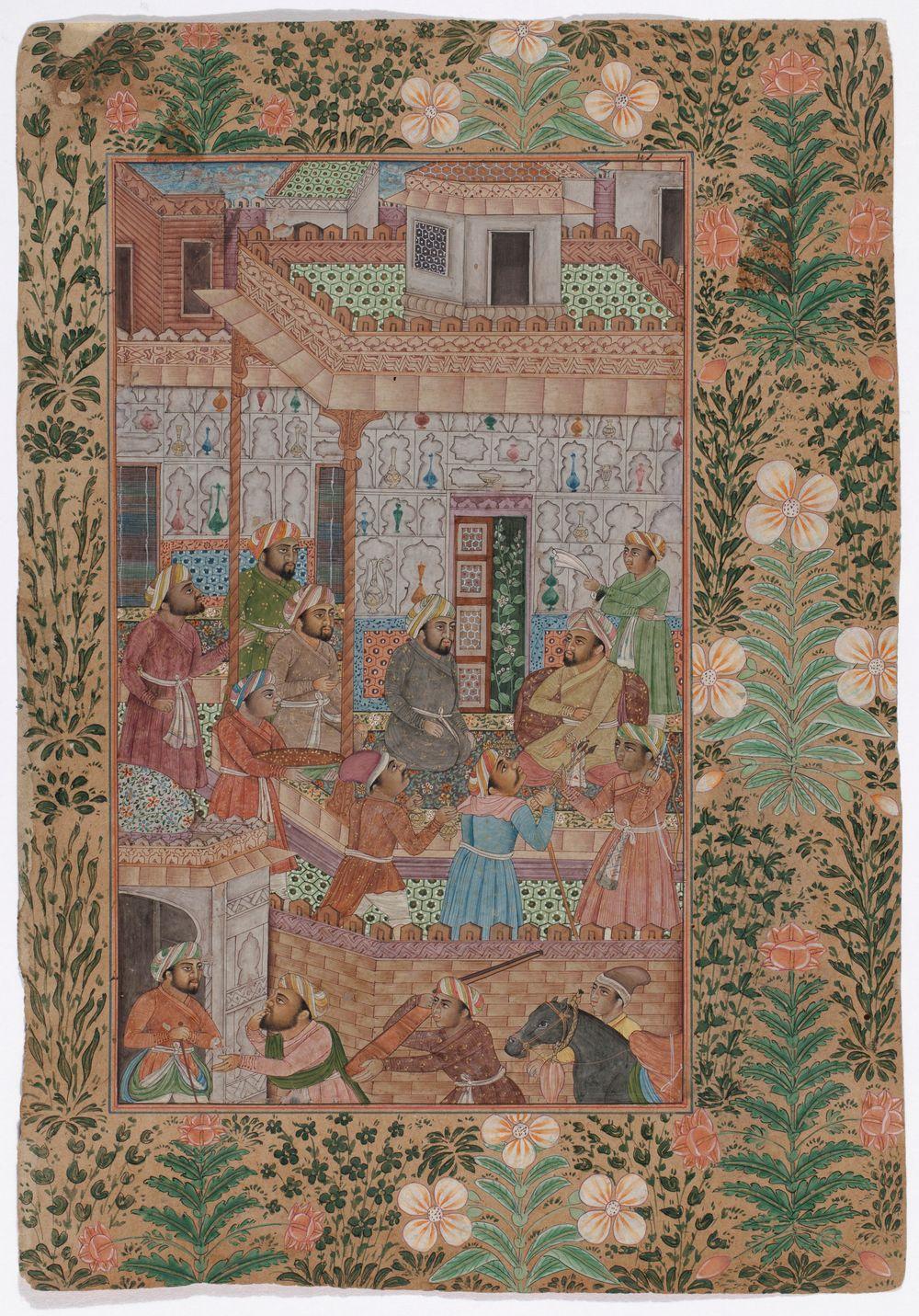 """Intialainen miniatyyri, AIHE: tapaaminen - miehiä kolmessa """"kerroksessa"""""""
