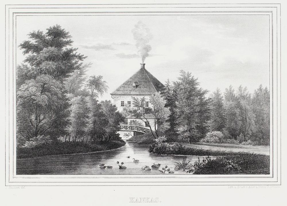 Kankaisten kartano, kuvitusta teokseen Finland framställdt i teckningar, vihkot XXII ja XXIII