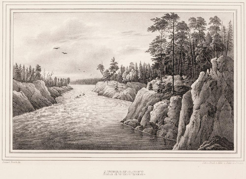 Aittokoski, kuvitusta teokseen Finland framställdt i teckningar, vihko VI