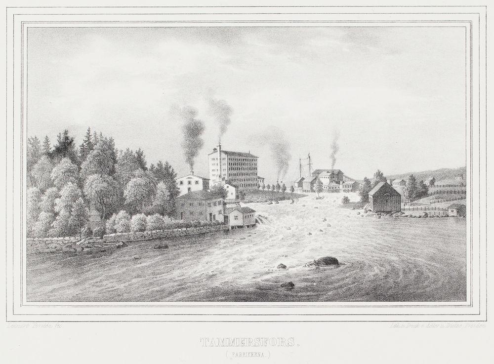 Tampere (tehtaat), kuvitusta teokseen Finland framställdt i teckningar, vihko XV