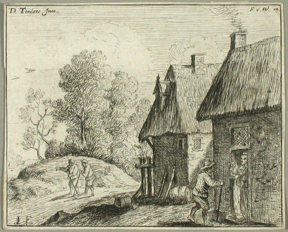 Talonpoika tuvan oven edessä, jossa näkyy lasta kantava nainen