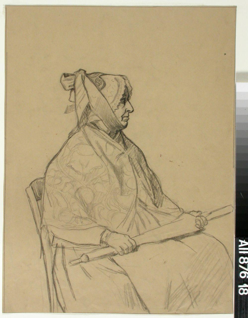 Istuva vanhahko nainen sateenvarjo sylissään