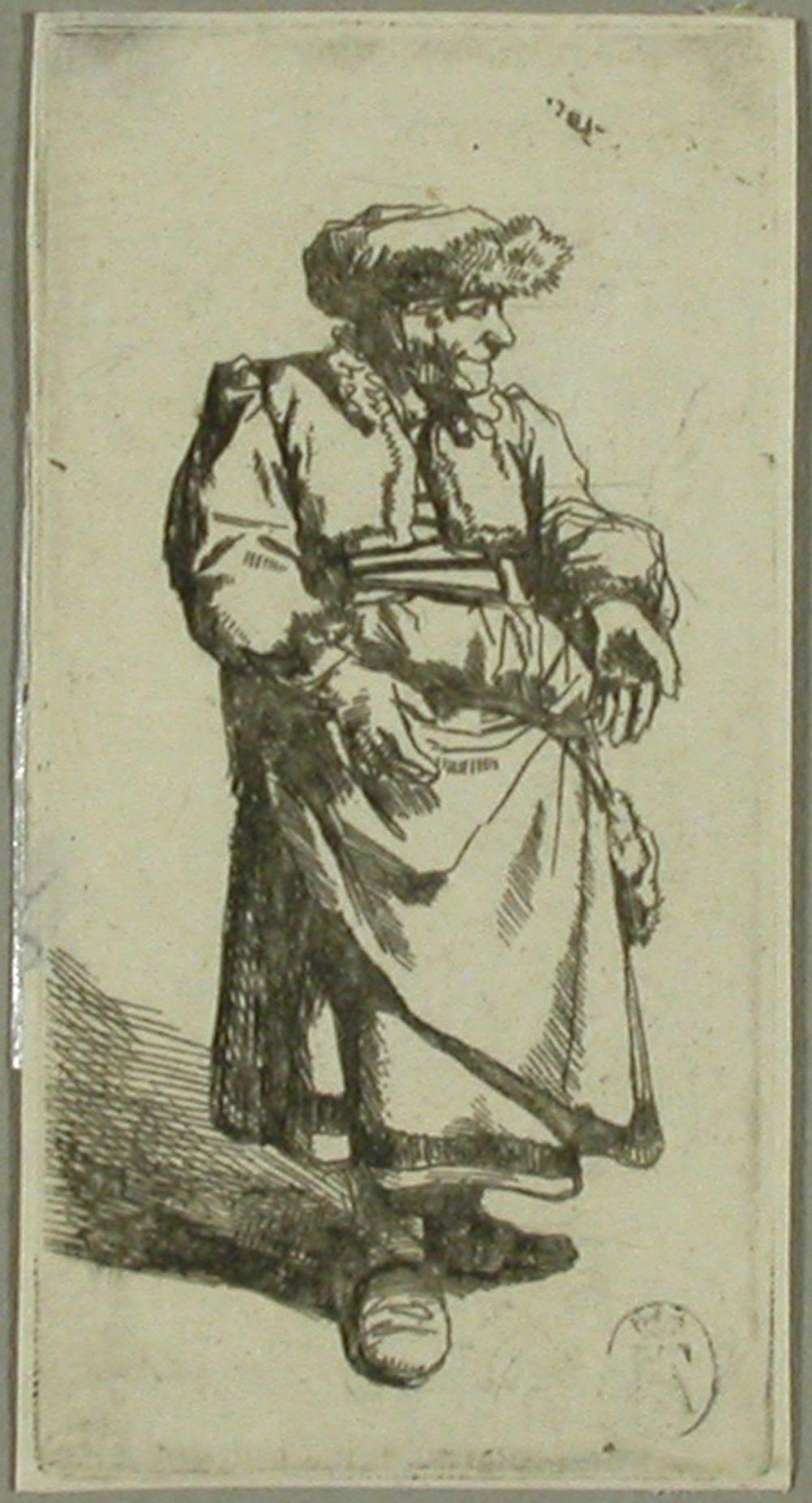 Turkislakkinen vanha nainen (Vieille debout)