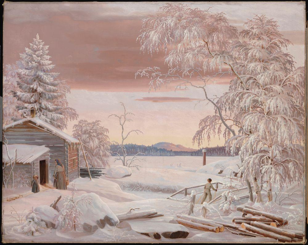 Talvimaisema Savosta auringonlaskun aikaan