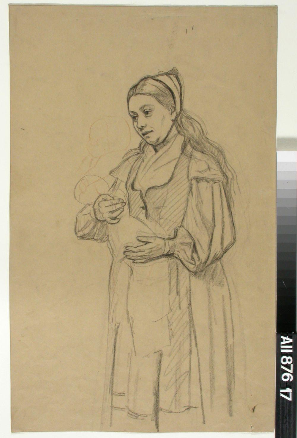 Seisova nainen pikku vauva käsivarsillaan