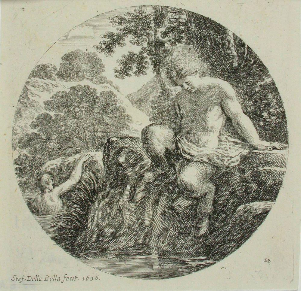 Joen törmällä istuva satyyri