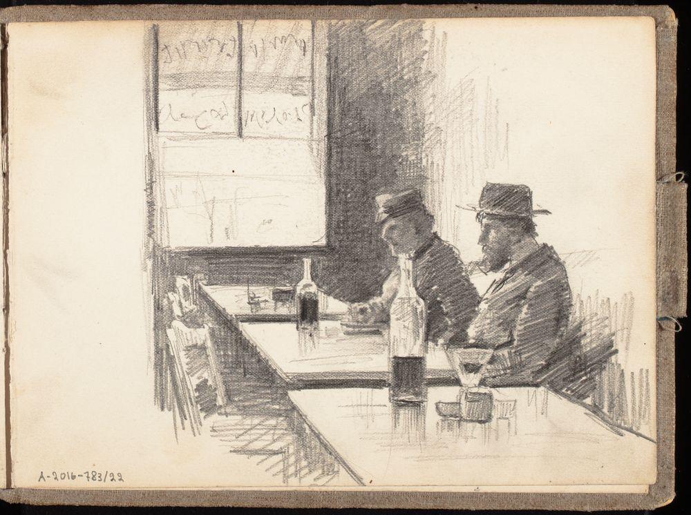 Kaksi istuvaa asiakasta viinituvassa