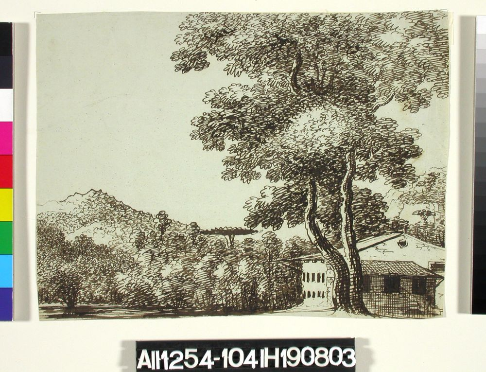 Landskap med en byggnad i två vån.