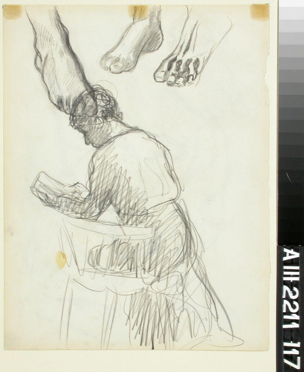 Istuva nainen ja jalkaharjoitelmia