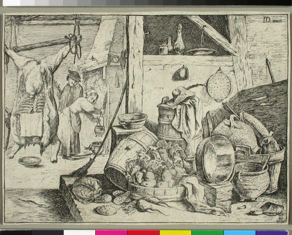 Keittiössä. Etualalla orresta riippuva teuraseläin sekä vihanneksia.