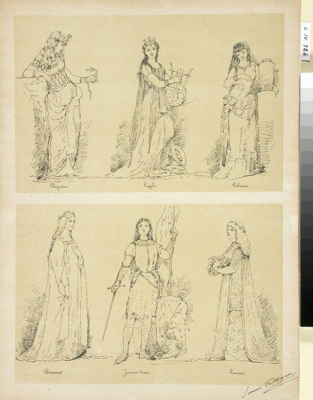 Luonnokset kahteen historialliseen kuvaelmaan, Suomen Taiteilijaseuran juhlassa 2.4.1883: Cléopatra, Sappho, Rebecca, Béatrice, Jeanne d´arc ja Laura