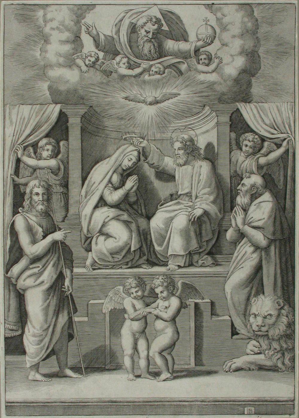 Marian kruunaus ; B -mestari (monogrammi kuutiossa)