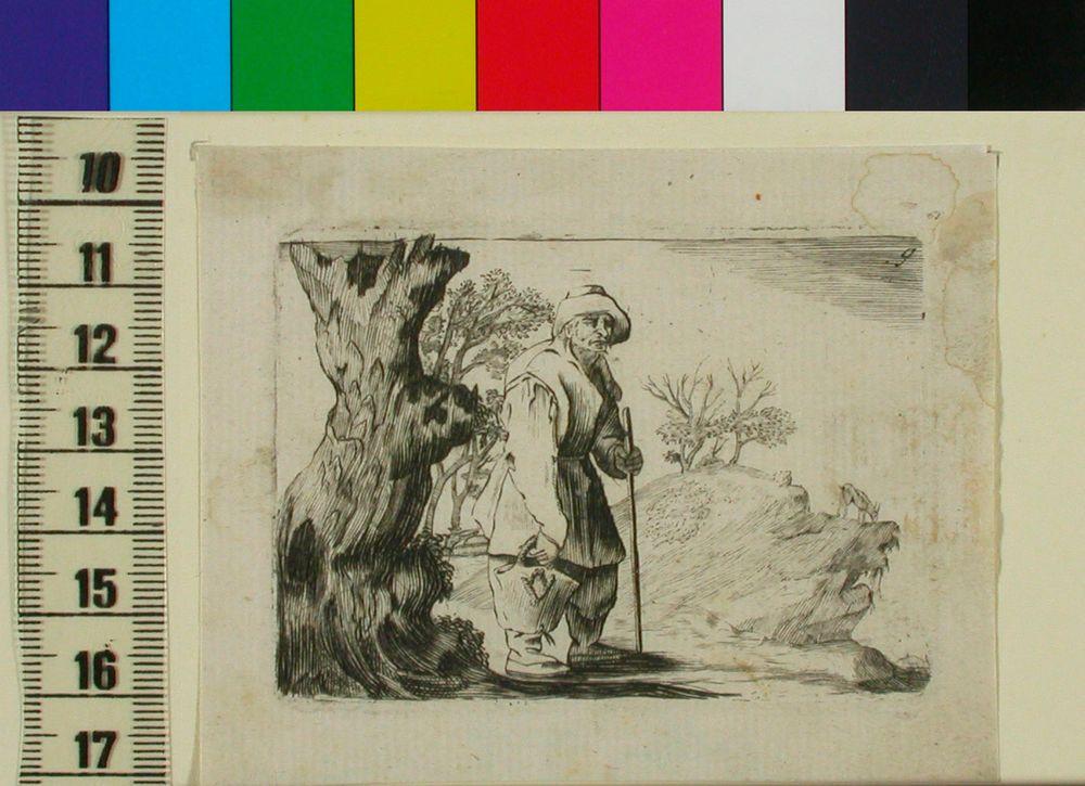 Paksun kuolleen puun vieressä seisova mies keppi ja kassi kädessä