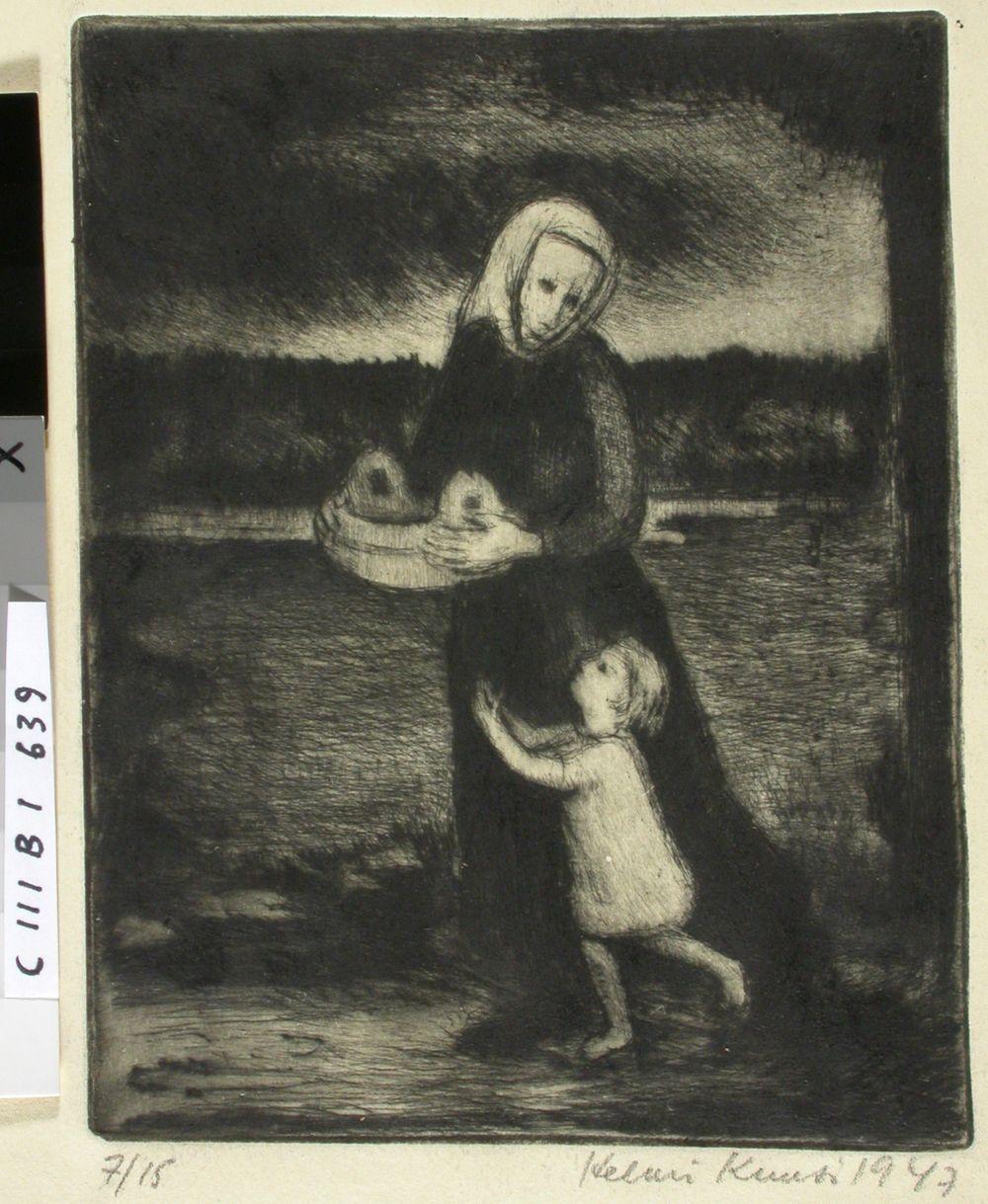 """Kuvitus Mustapään runoon """"Commemaratio animarum"""" kokoelmassa """"Koiruoho, ruusunkukka"""""""