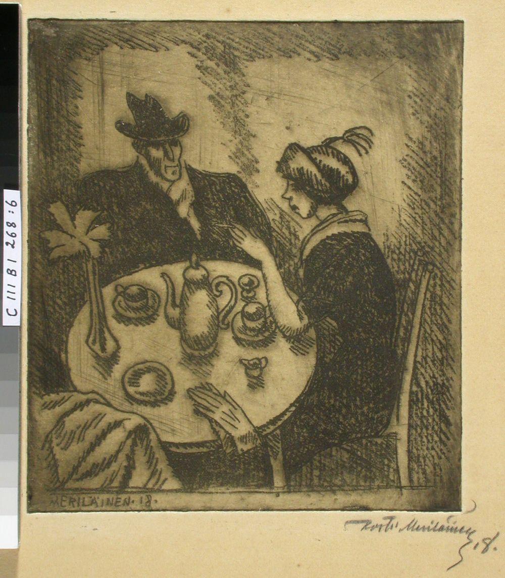 Kahvilapöydän ääressä istuvat mies ja nainen