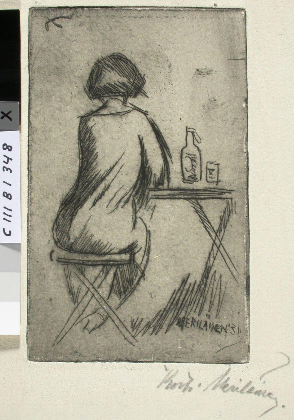 Pöydän ääressä istuva tyttö