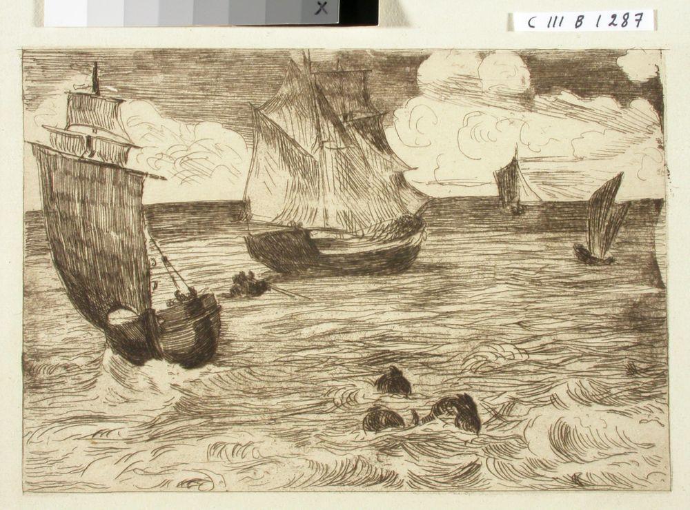 Marin med segelbåtar