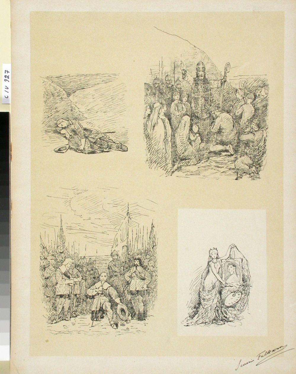 Kuvituksia Taiteilijaseuran juhlan esinäytökseen: Kaarle XII:n kuolema, Piispa Henrik käännyttää suomalaisia, Kustaa II Adolf ja Taiteen apoteosi