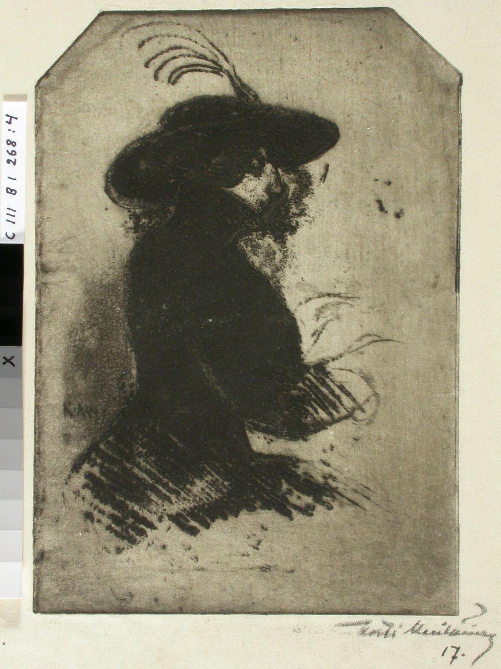 Istuva nainen, päässä sulkahattu
