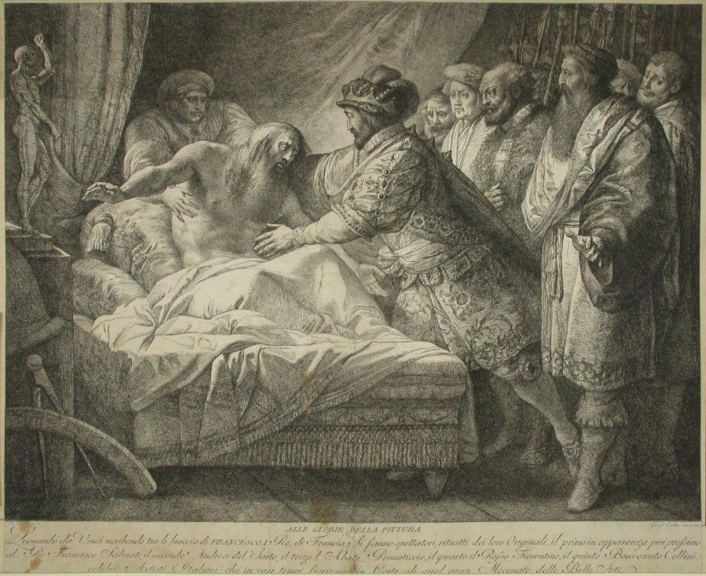 Kuoleva Leonardo da Vinci Frans I:n käsivarsilla