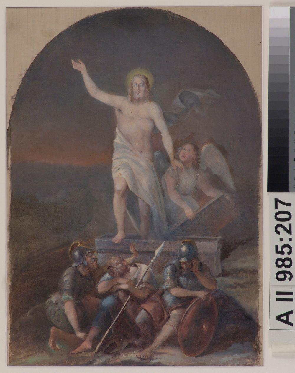 Kristuksen ylösnousemus, mahdollisesti Vihdin kirkon alttaritaulun luonnos ; Kristus uppståndelse, troligtvis skiss för altartavlan i Vihtis kyrka