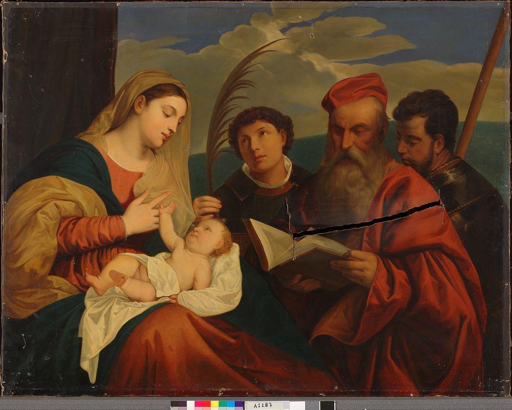 Neitsyt Maria lapsen kanssa sekä pyhäät Stefanus, Hieronymus ja Mauritius, kopio Tizianin (Tiziano Vecellio) mukaan