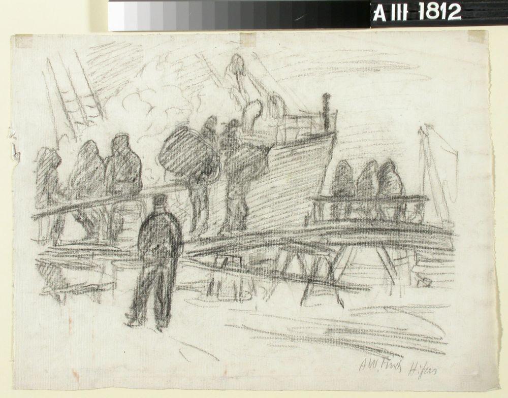 Hamnarbetare, som lossa en ångbåt