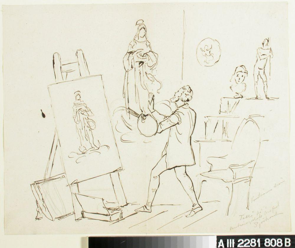 Luonnos Taiteilijaseuran vuosijuhlassa esitettyä kuvaelmaa varten, Konstnärens dröm