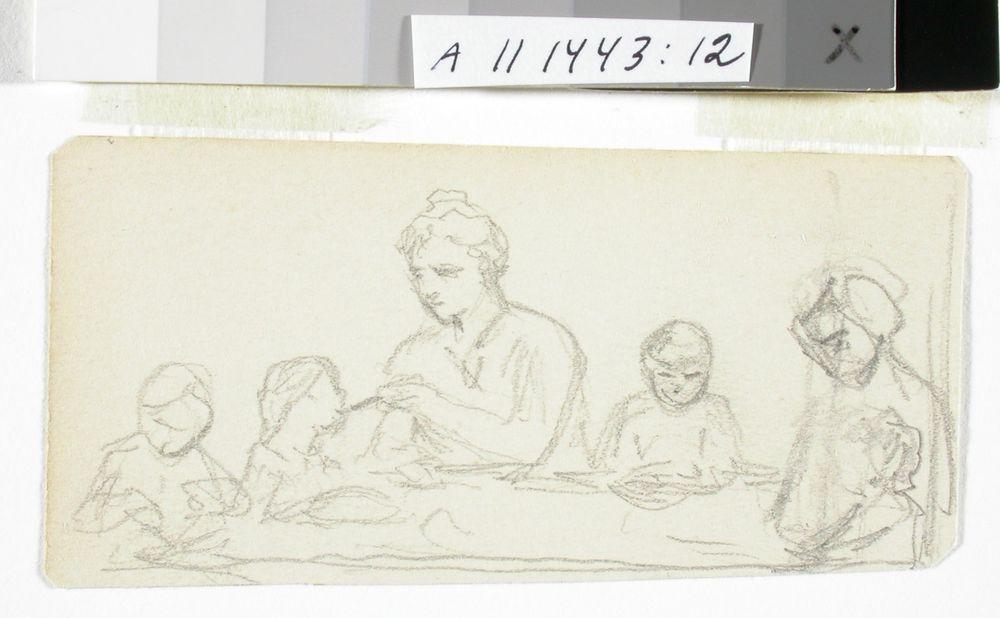 AIHE: Ateria, kaksi naista ja neljä lasta pöydän ympärillä