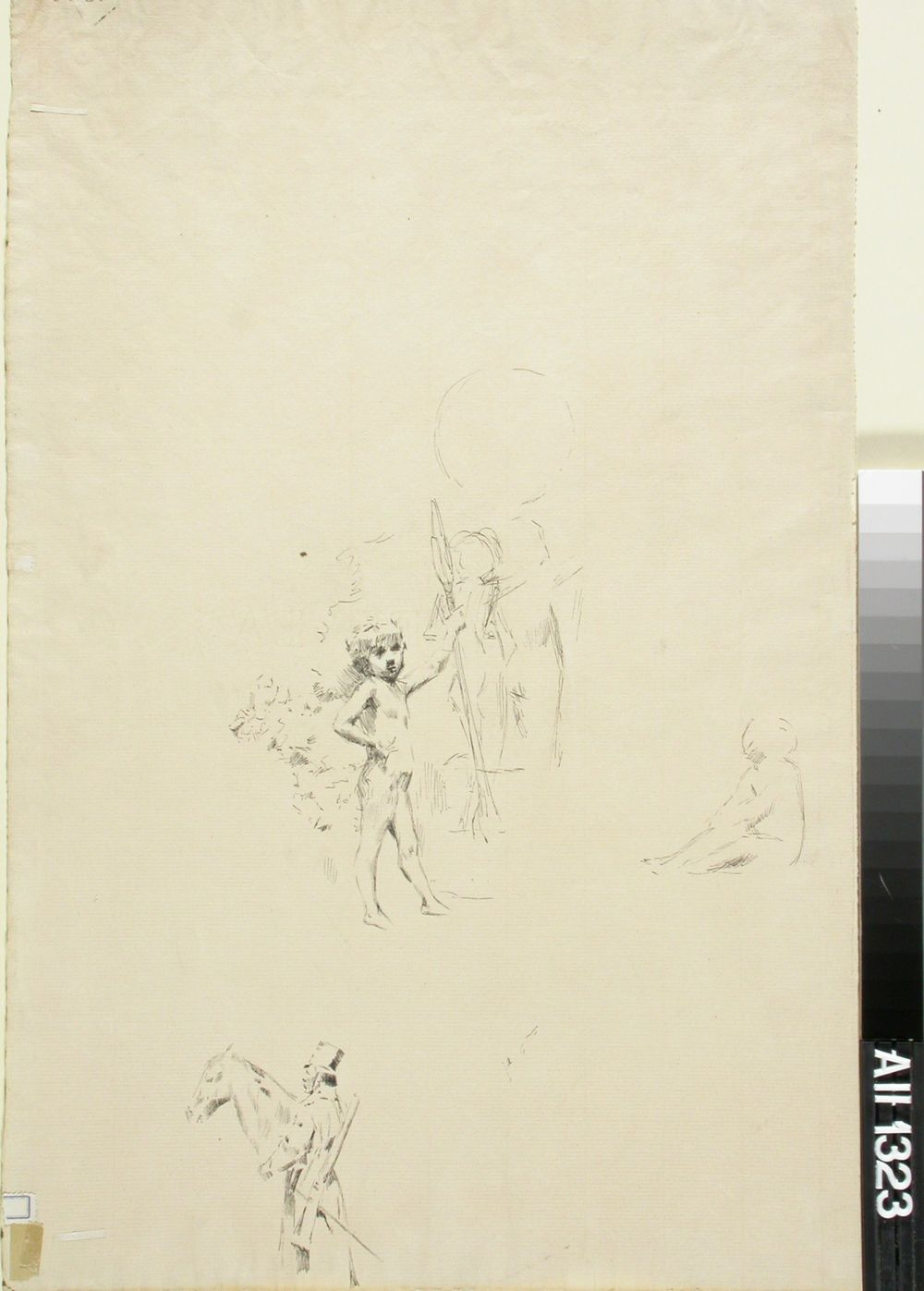 Luonnoksia: Ratsusotilas ja hevosen pää ; Allegorinen alaston pikkupoika ja kaksi ihmisfiguuria ; Istuva figuuri