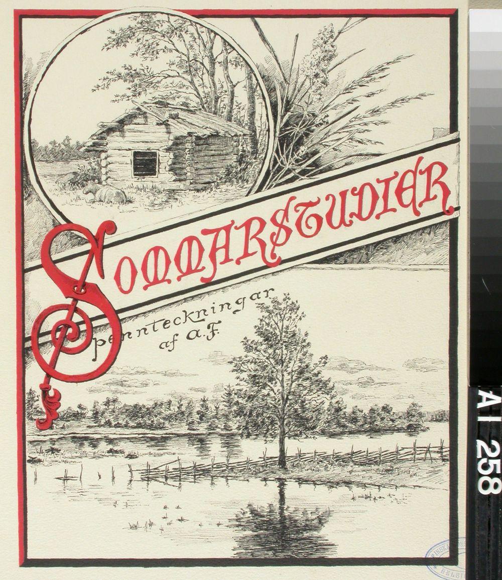 """Blad med två landskap med rubriken """"Sommarstudier"""" pennteckningar"""