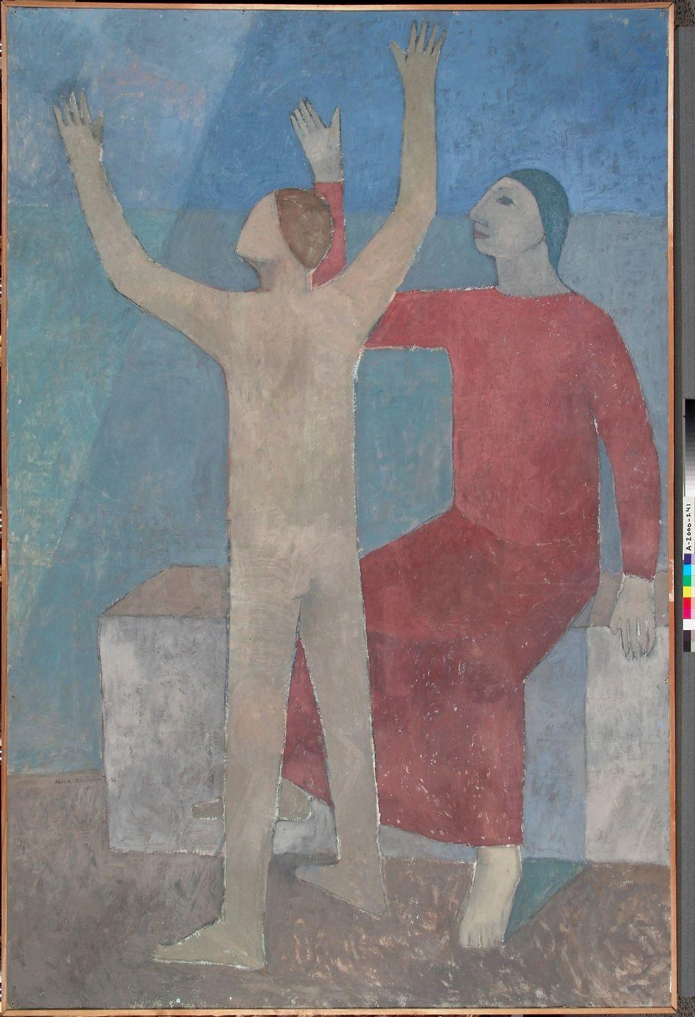 Yksityiskohta Rajamäen kirkon alttarifreskosta