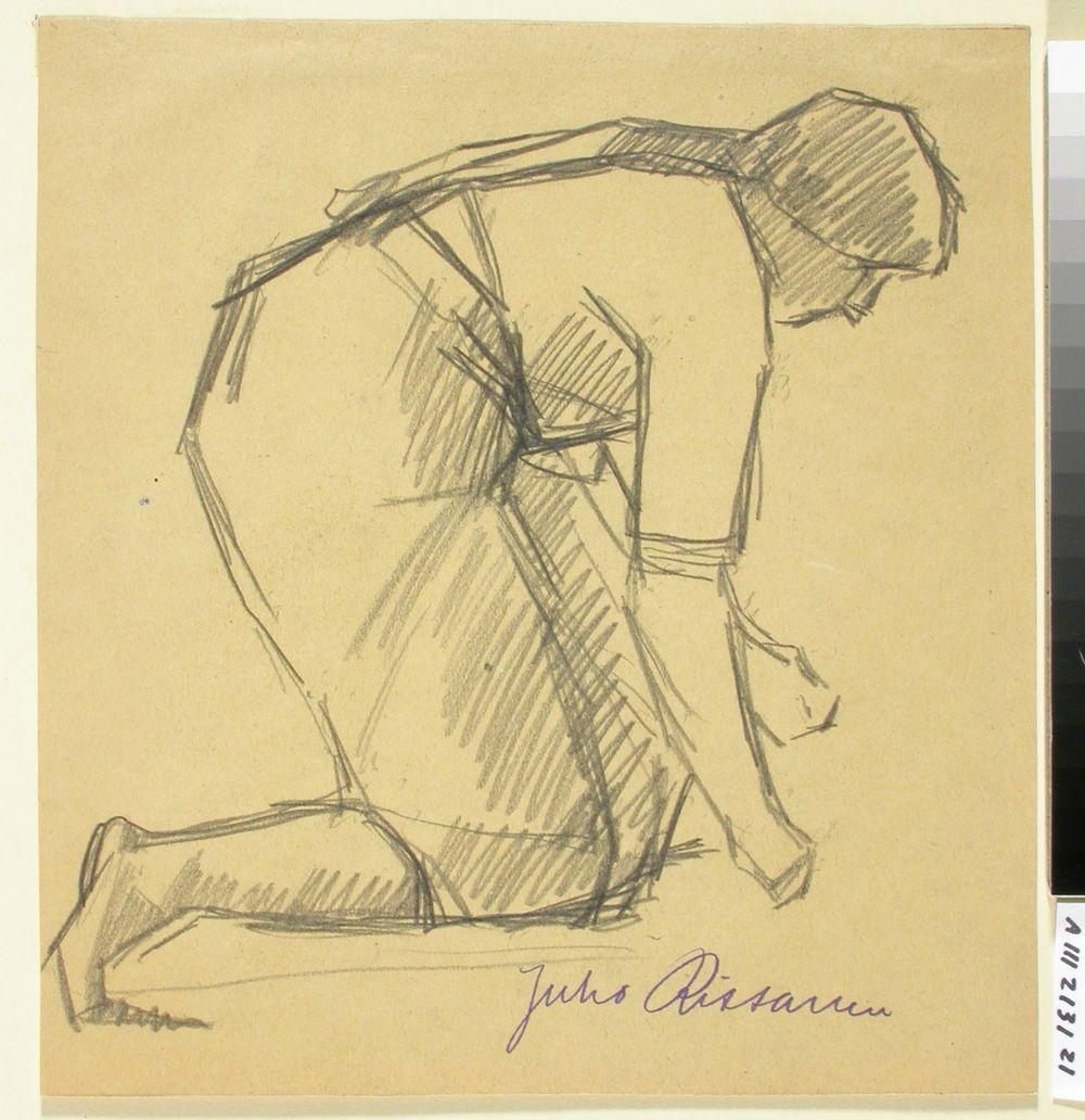 Kvinna som ligger på knä