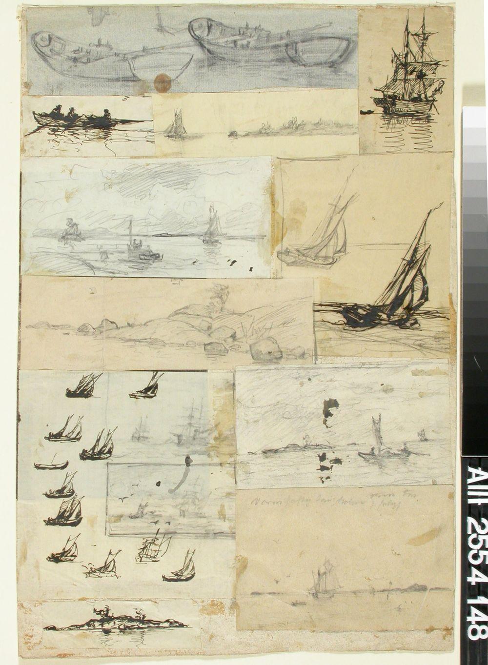 Soutu- ja purjeveneitä, meri- ja kallio- ja saarimaisemia