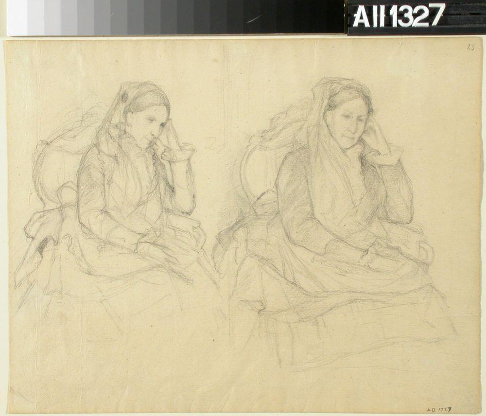 Istuva vanha nainen, kaksi harjoitelmaa (vapaaherratar Agneta Charlotta Wilhelmina Mellin)