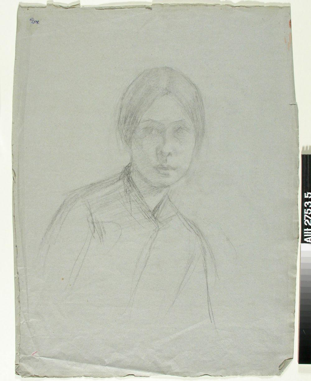 Nuoren naisen rintakuva; samalla lehdellä toisella puolen makaavan tytön pää ja käsi