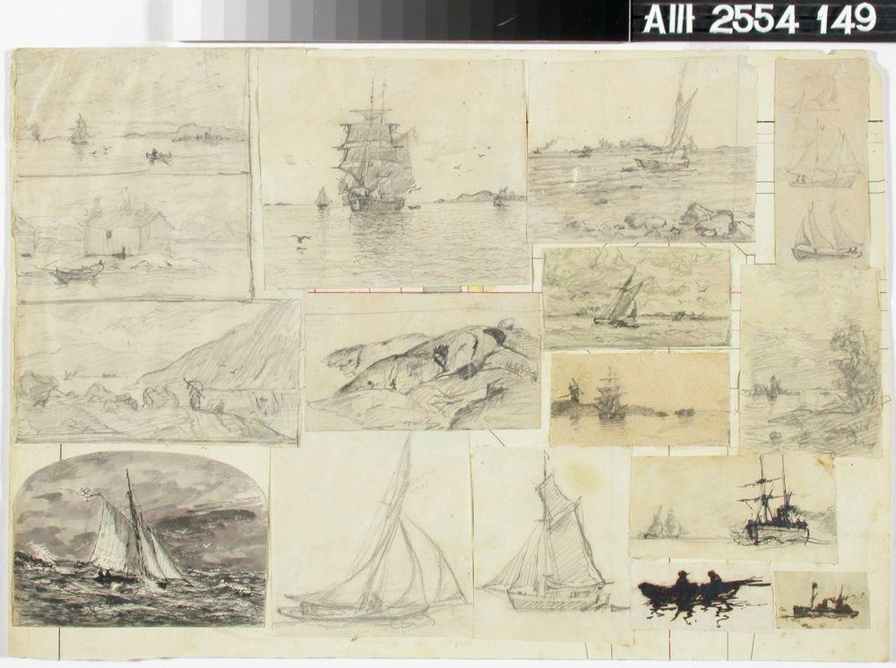 15 pientä meriaiheista piirustusta