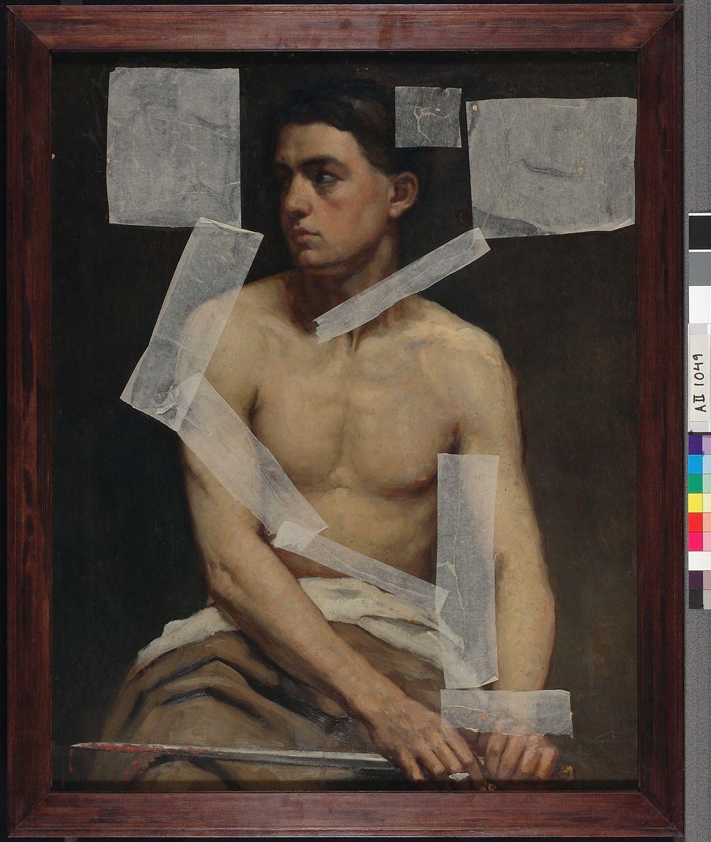 Istuva miesmalli miekka kädessä, akatemiaharjoitelma