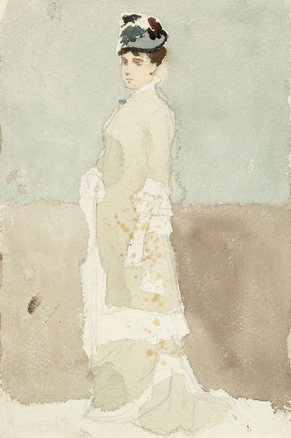 Nainen kävelypuvussa