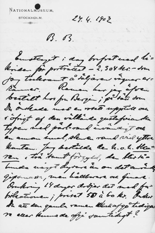 Osvald Sirénin kirje Paul Sinebrychoffille 24.4.1902