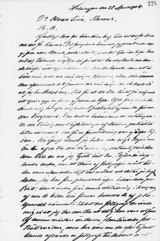 Paul Sinebrychoffin kirje Osvald Sirénille 25.4.1904